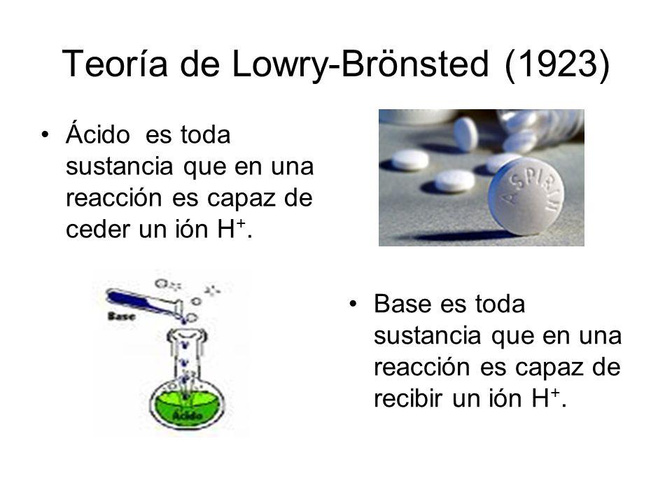 Teoría de Lowry-Brönsted (1923) Ácido es toda sustancia que en una reacción es capaz de ceder un ión H +. Base es toda sustancia que en una reacción e