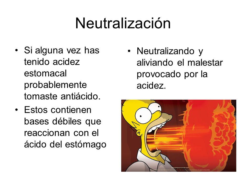 Neutralización Si alguna vez has tenido acidez estomacal probablemente tomaste antiácido. Estos contienen bases débiles que reaccionan con el ácido de