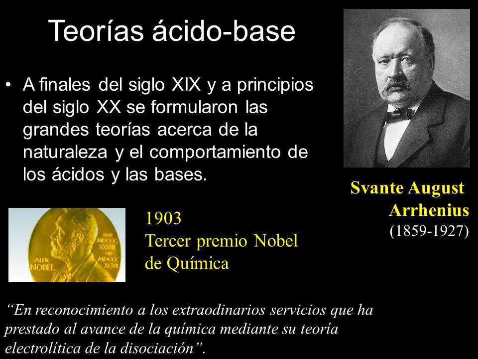 Svante August Arrhenius (1859-1927) En reconocimiento a los extraodinarios servicios que ha prestado al avance de la química mediante su teoría electr