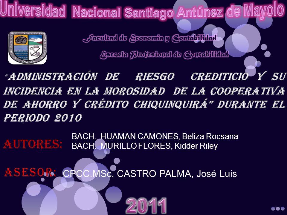 BACH.HUAMAN CAMONES, Beliza Rocsana BACH.MURILLO FLORES, Kidder Riley CPCC.MSc. CASTRO PALMA, José Luis