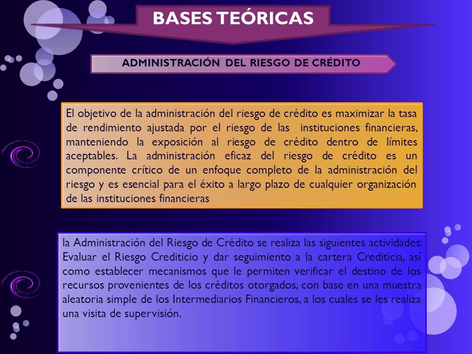 BASES TEÓRICAS ADMINISTRACIÓN DEL RIESGO DE CRÉDITO El objetivo de la administración del riesgo de crédito es maximizar la tasa de rendimiento ajustad