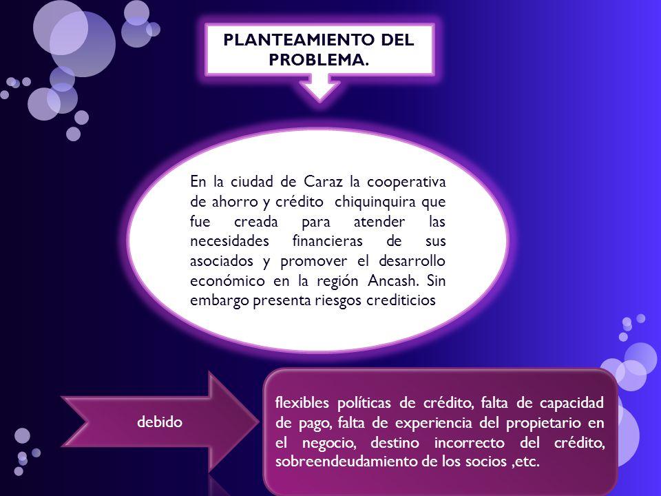 FORMULACIÓN DEL PROBLEMA ¿Cómo administrar los riesgos crediticios para minimizar su incidencia en la morosidad de la Cooperativa De Ahorro Y Crédito Chiquinquira Caraz - 2010.
