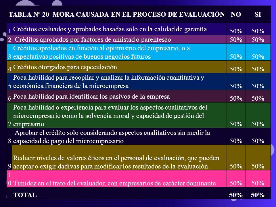 TABLA Nº 20 MORA CAUSADA EN EL PROCESO DE EVALUACIÓNNOSI 1 Créditos evaluados y aprobados basadas solo en la calidad de garantía 50% 2 Créditos aproba