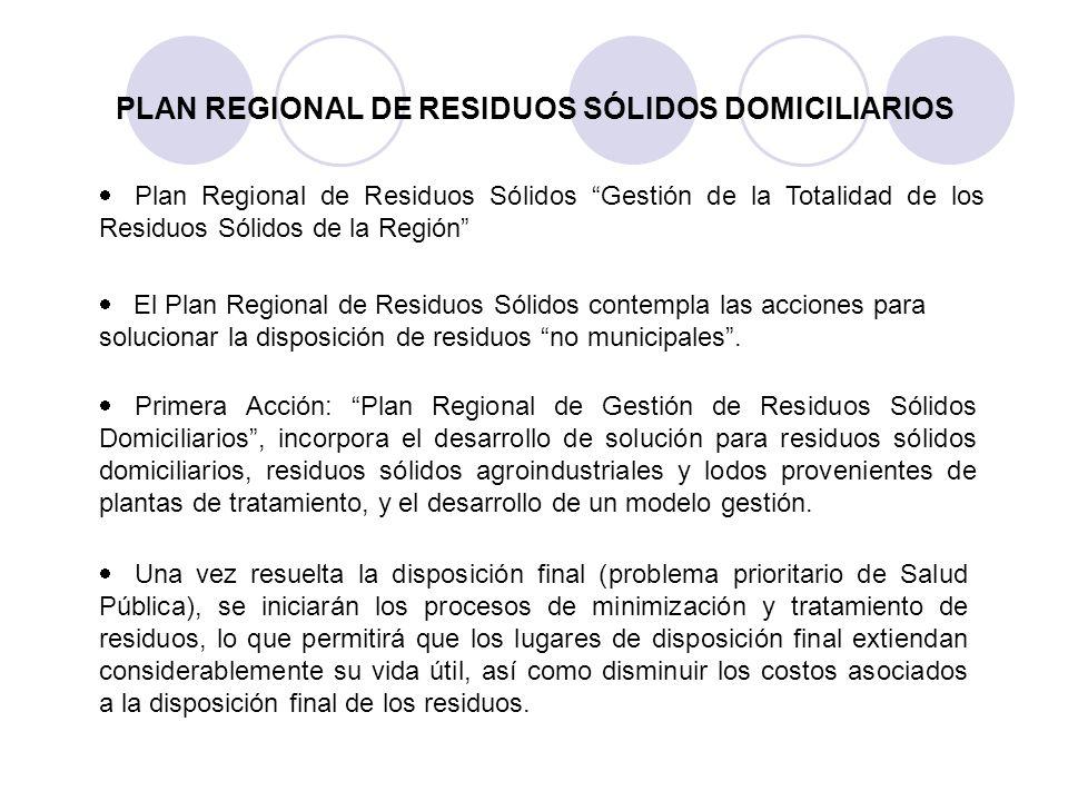 PLAN REGIONAL DE RESIDUOS SÓLIDOS DOMICILIARIOS Plan Regional de Residuos Sólidos Gestión de la Totalidad de los Residuos Sólidos de la Región El Plan