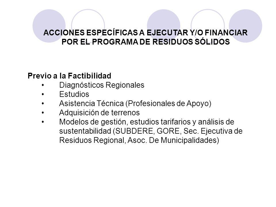 Previo a la Factibilidad Diagnósticos Regionales Estudios Asistencia Técnica (Profesionales de Apoyo) Adquisición de terrenos Modelos de gestión, estu