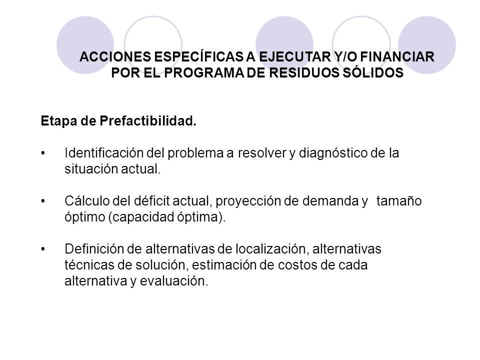 Etapa de Prefactibilidad. Identificación del problema a resolver y diagnóstico de la situación actual. Cálculo del déficit actual, proyección de deman