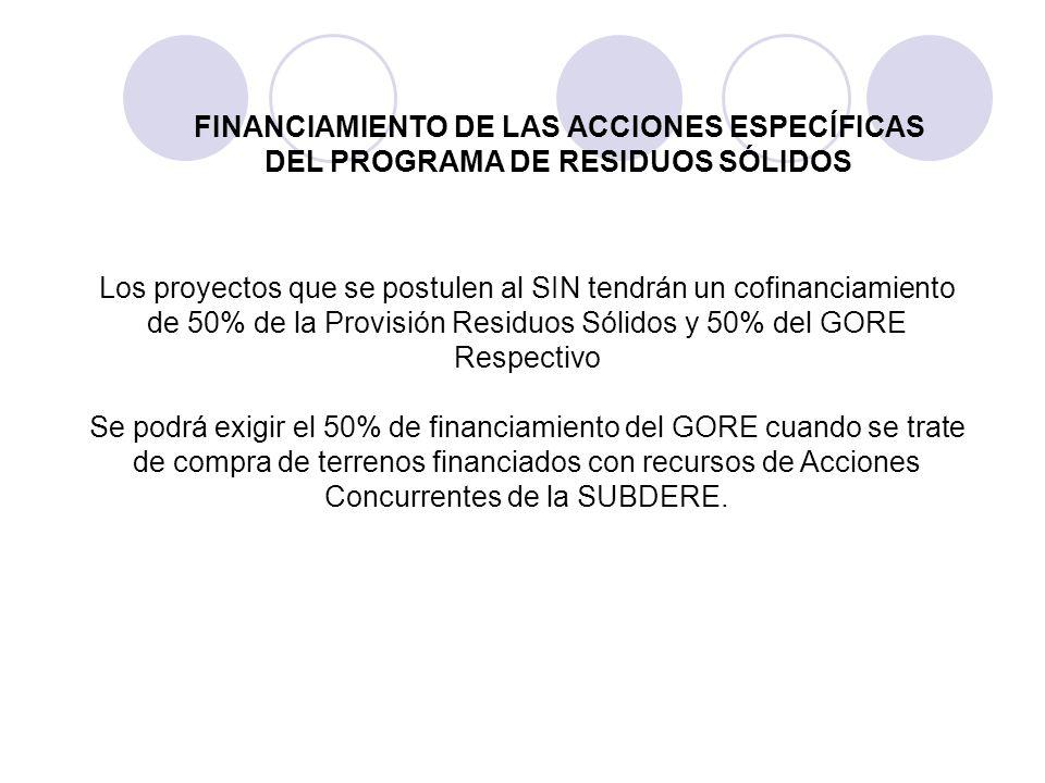 Los proyectos que se postulen al SIN tendrán un cofinanciamiento de 50% de la Provisión Residuos Sólidos y 50% del GORE Respectivo Se podrá exigir el