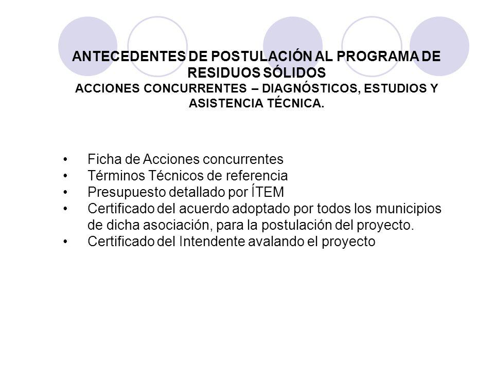 Ficha de Acciones concurrentes Términos Técnicos de referencia Presupuesto detallado por ÍTEM Certificado del acuerdo adoptado por todos los municipio