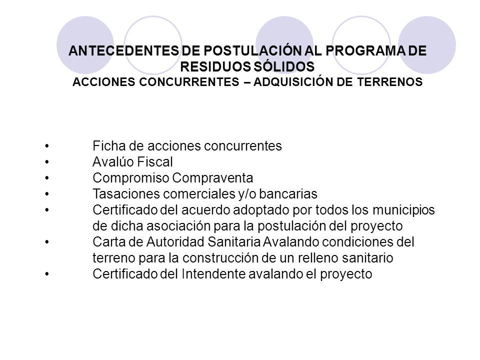 Ficha de acciones concurrentes Avalúo Fiscal Compromiso Compraventa Tasaciones comerciales y/o bancarias Certificado del acuerdo adoptado por todos lo