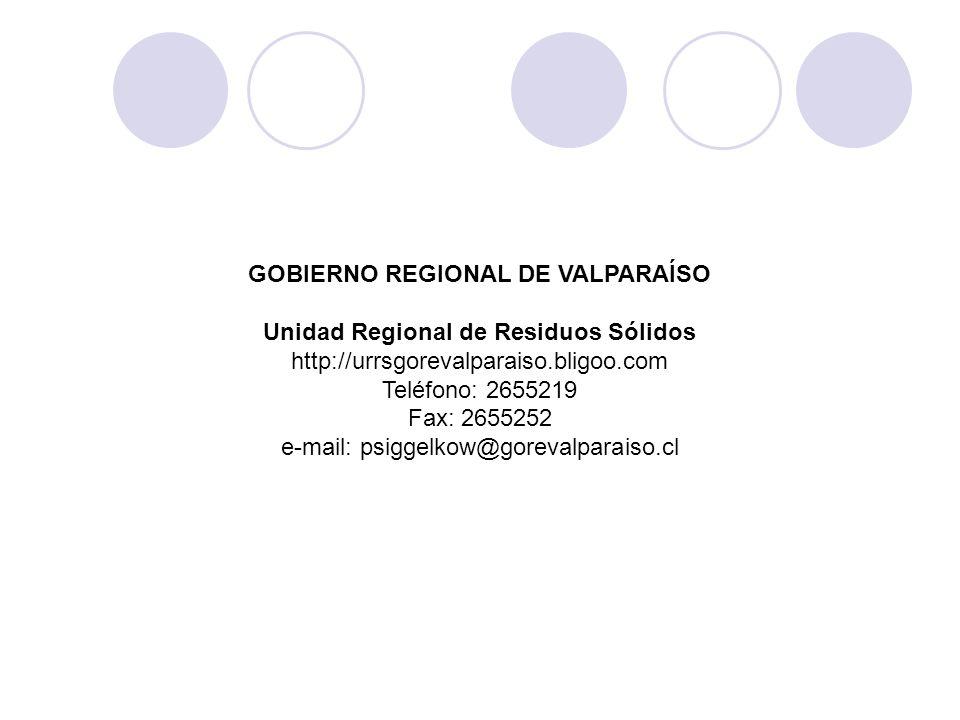GOBIERNO REGIONAL DE VALPARAÍSO Unidad Regional de Residuos Sólidos http://urrsgorevalparaiso.bligoo.com Teléfono: 2655219 Fax: 2655252 e-mail: psigge