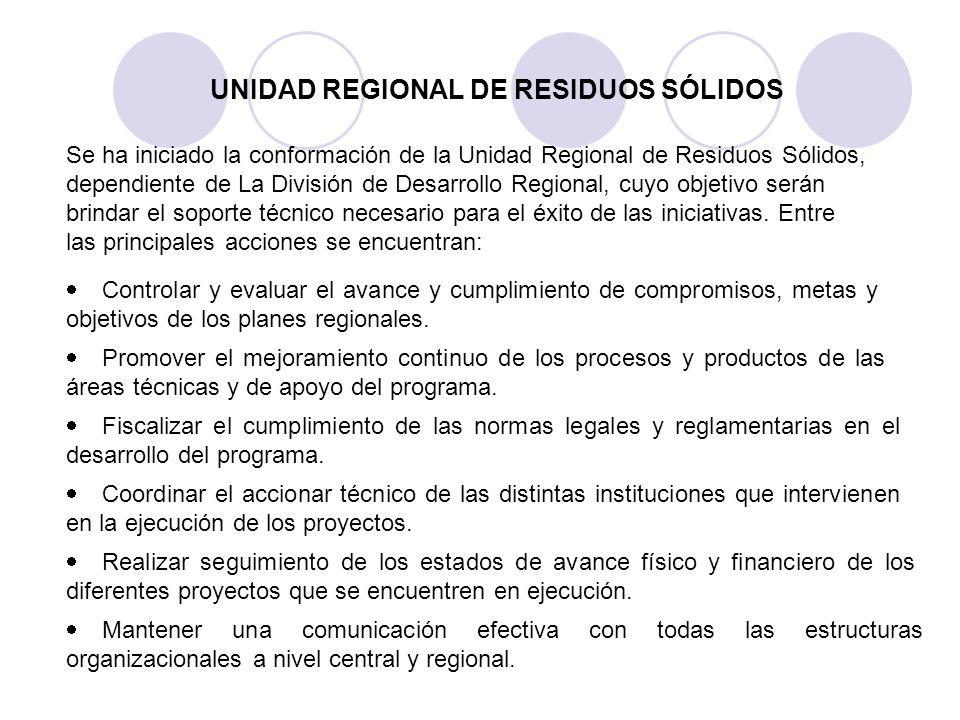 UNIDAD REGIONAL DE RESIDUOS SÓLIDOS Se ha iniciado la conformación de la Unidad Regional de Residuos Sólidos, dependiente de La División de Desarrollo
