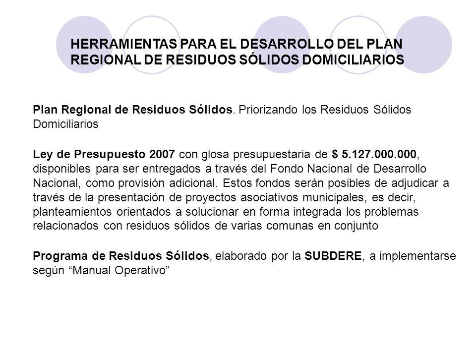 Programa de Residuos Sólidos, elaborado por la SUBDERE, a implementarse según Manual Operativo HERRAMIENTAS PARA EL DESARROLLO DEL PLAN REGIONAL DE RE
