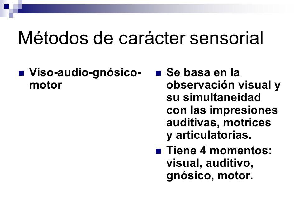 Viso-audio-gnósico- motor Se basa en la observación visual y su simultaneidad con las impresiones auditivas, motrices y articulatorias. Tiene 4 moment