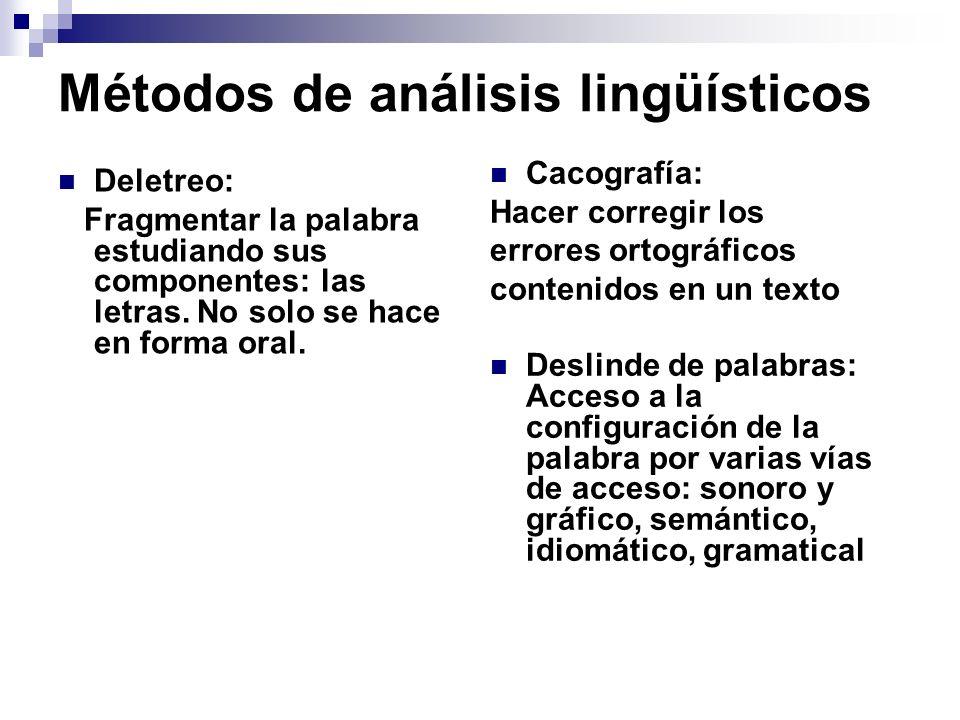 Métodos de análisis lingüísticos Deletreo: Fragmentar la palabra estudiando sus componentes: las letras. No solo se hace en forma oral. Cacografía: Ha