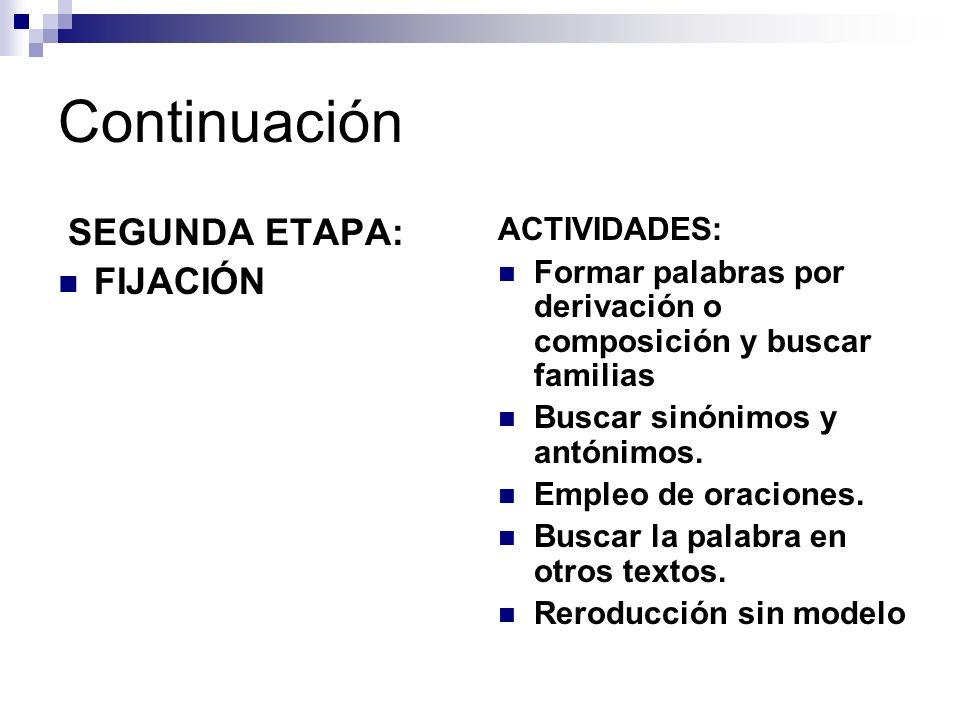 Continuación SEGUNDA ETAPA: FIJACIÓN ACTIVIDADES: Formar palabras por derivación o composición y buscar familias Buscar sinónimos y antónimos. Empleo