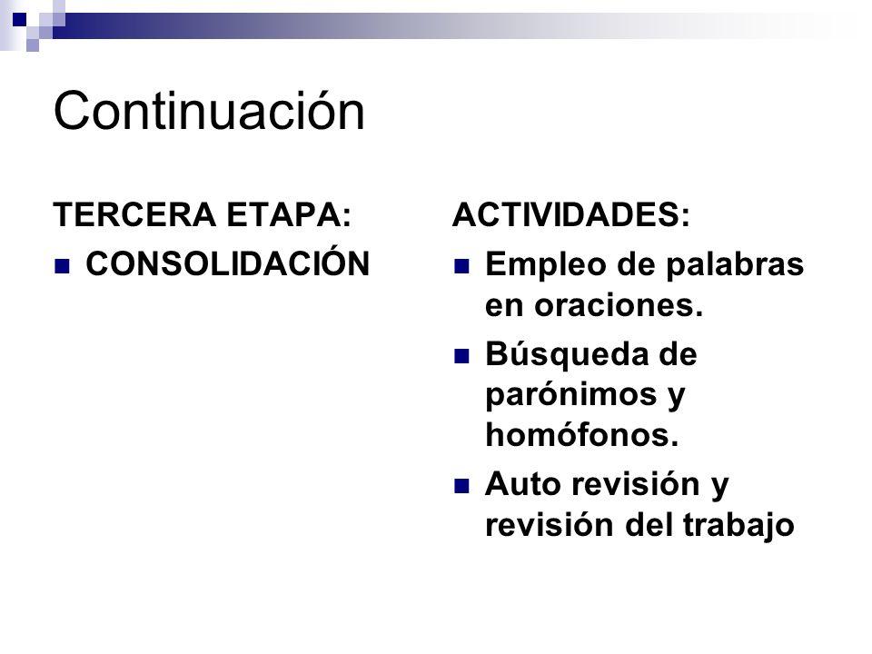TERCERA ETAPA: CONSOLIDACIÓN ACTIVIDADES: Empleo de palabras en oraciones. Búsqueda de parónimos y homófonos. Auto revisión y revisión del trabajo Con