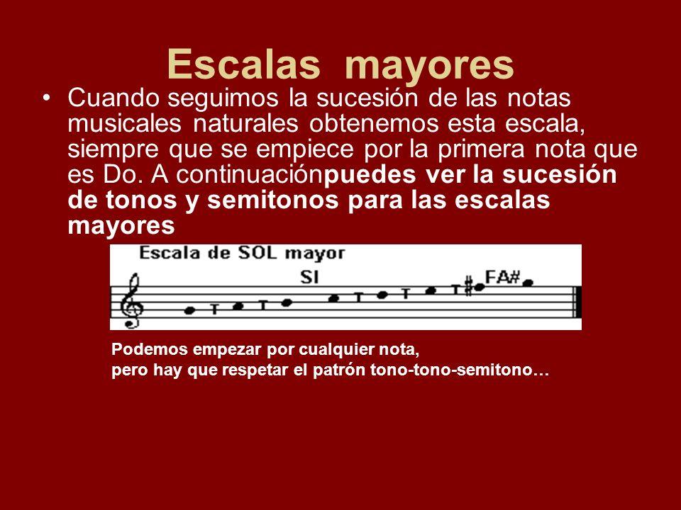 Escalas mayores Cuando seguimos la sucesión de las notas musicales naturales obtenemos esta escala, siempre que se empiece por la primera nota que es