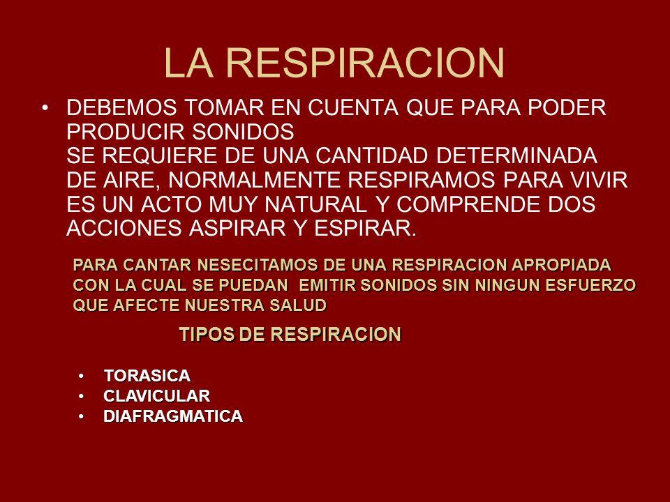 LA RESPIRACION DEBEMOS TOMAR EN CUENTA QUE PARA PODER PRODUCIR SONIDOS SE REQUIERE DE UNA CANTIDAD DETERMINADA DE AIRE, NORMALMENTE RESPIRAMOS PARA VI