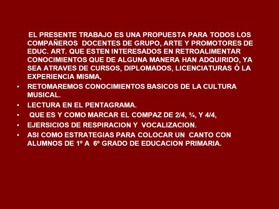EL PRESENTE TRABAJO ES UNA PROPUESTA PARA TODOS LOS COMPAÑEROS DOCENTES DE GRUPO, ARTE Y PROMOTORES DE EDUC. ART. QUE ESTEN INTERESADOS EN RETROALIMEN