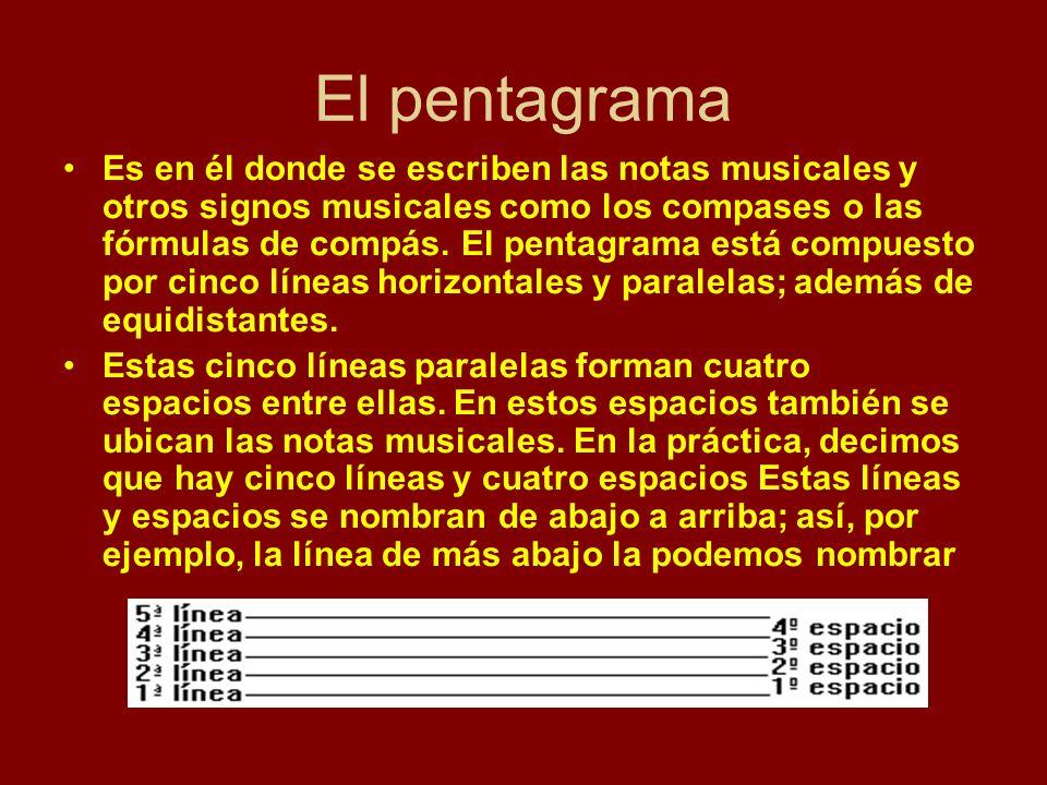 El pentagrama Es en él donde se escriben las notas musicales y otros signos musicales como los compases o las fórmulas de compás. El pentagrama está c