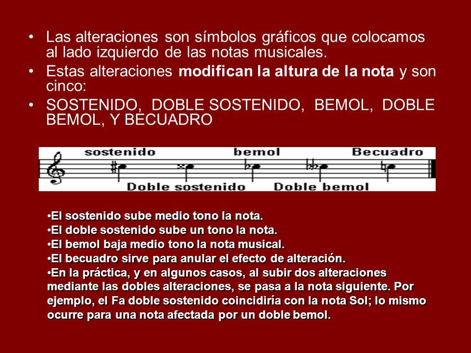 Las alteraciones son símbolos gráficos que colocamos al lado izquierdo de las notas musicales. Estas alteraciones modifican la altura de la nota y son