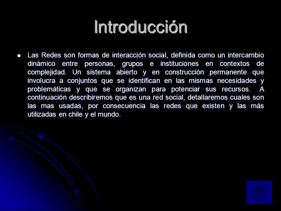 Introducción Las Redes son formas de interacción social, definida como un intercambio dinámico entre personas, grupos e instituciones en contextos de complejidad.