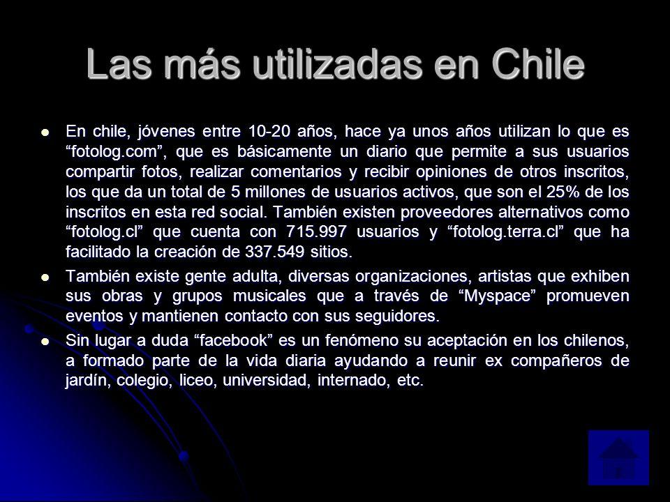 Las más utilizadas en Chile En chile, jóvenes entre 10-20 años, hace ya unos años utilizan lo que es fotolog.com, que es básicamente un diario que permite a sus usuarios compartir fotos, realizar comentarios y recibir opiniones de otros inscritos, los que da un total de 5 millones de usuarios activos, que son el 25% de los inscritos en esta red social.