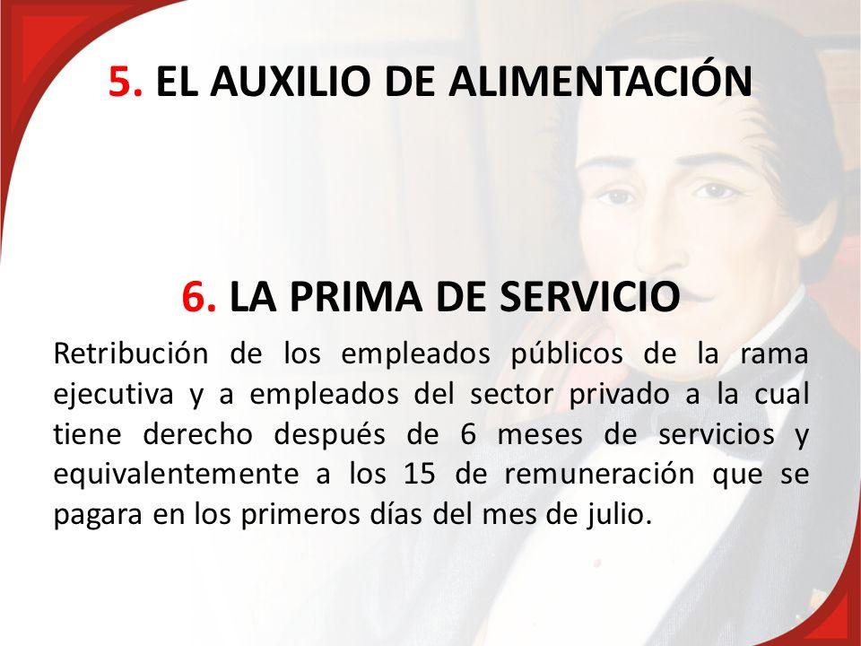 5. EL AUXILIO DE ALIMENTACIÓN 6. LA PRIMA DE SERVICIO Retribución de los empleados públicos de la rama ejecutiva y a empleados del sector privado a la