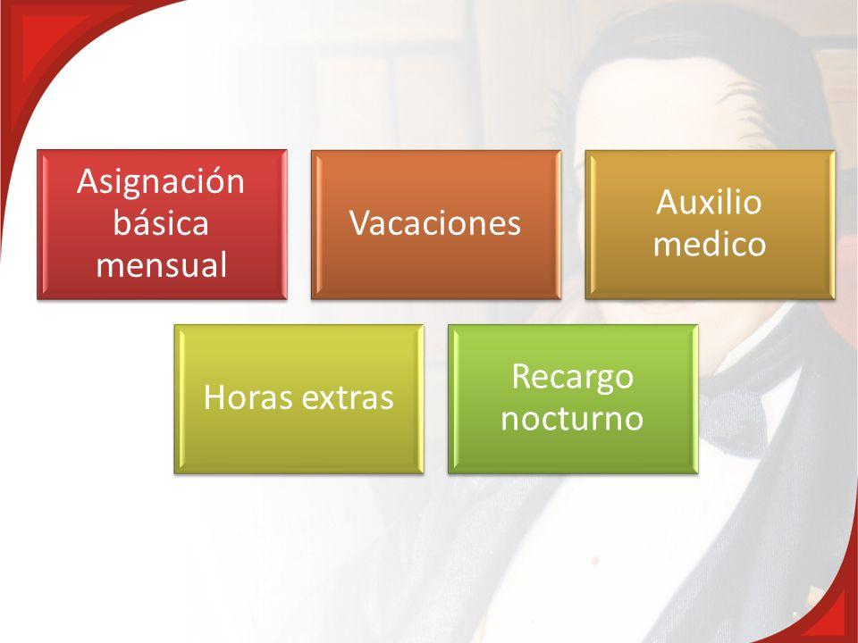 Asignación básica mensual Vacaciones Auxilio medico Horas extras Recargo nocturno