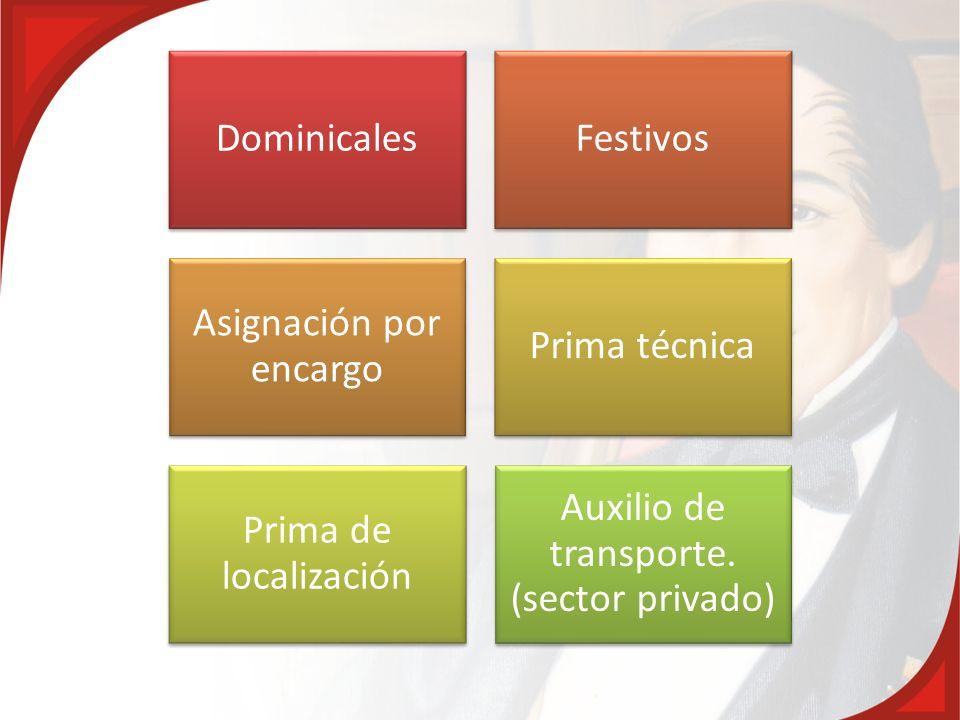 DominicalesFestivos Asignación por encargo Prima técnica Prima de localización Auxilio de transporte. (sector privado)