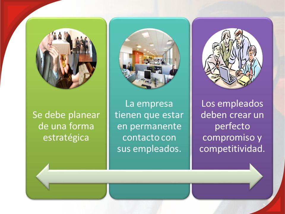 Se debe planear de una forma estratégica La empresa tienen que estar en permanente contacto con sus empleados. Los empleados deben crear un perfecto c