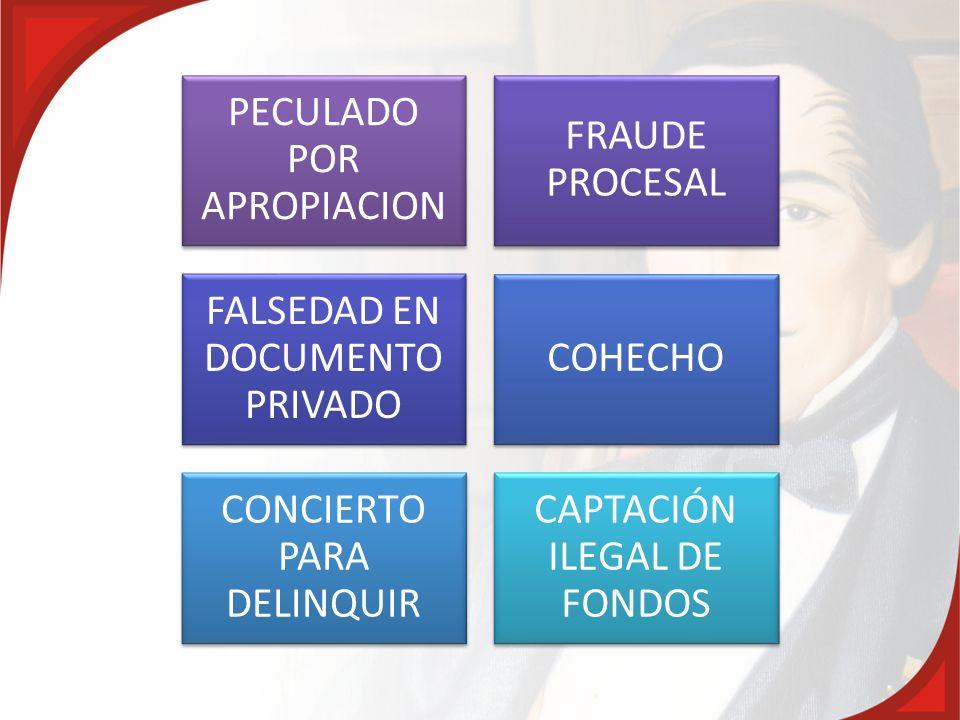 PECULADO POR APROPIACION FRAUDE PROCESAL FALSEDAD EN DOCUMENTO PRIVADO COHECHO CONCIERTO PARA DELINQUIR CAPTACIÓN ILEGAL DE FONDOS