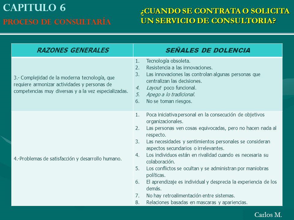 RAZONES GENERALES SEÑALES DE DOLENCIA 3.- Complejidad de la moderna tecnología, que requiere armonizar actividades y personas de competencias muy dive