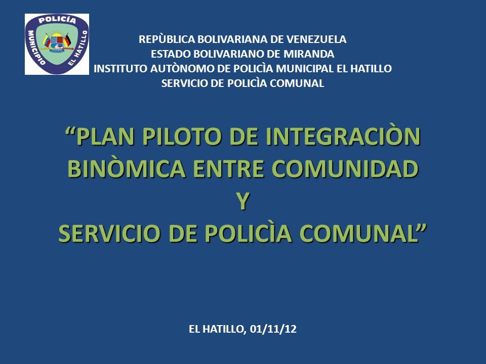 PLAN PILOTO DE INTEGRACIÒN BINÒMICA ENTRE COMUNIDAD Y SERVICIO DE POLICÌA COMUNAL REPÙBLICA BOLIVARIANA DE VENEZUELA ESTADO BOLIVARIANO DE MIRANDA INS