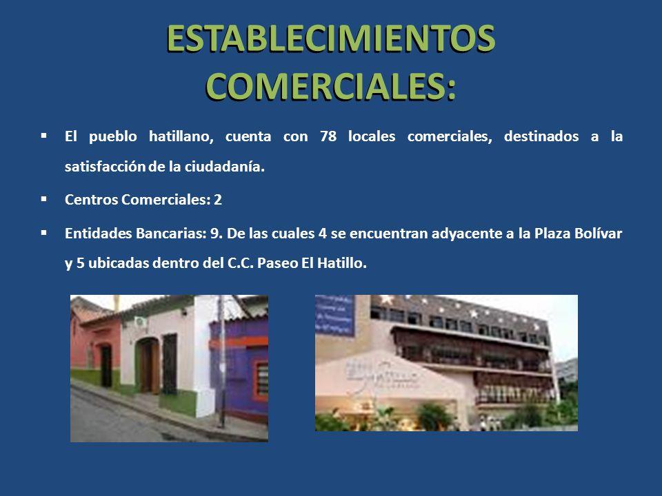 ESTABLECIMIENTOS COMERCIALES: El pueblo hatillano, cuenta con 78 locales comerciales, destinados a la satisfacción de la ciudadanía. Centros Comercial