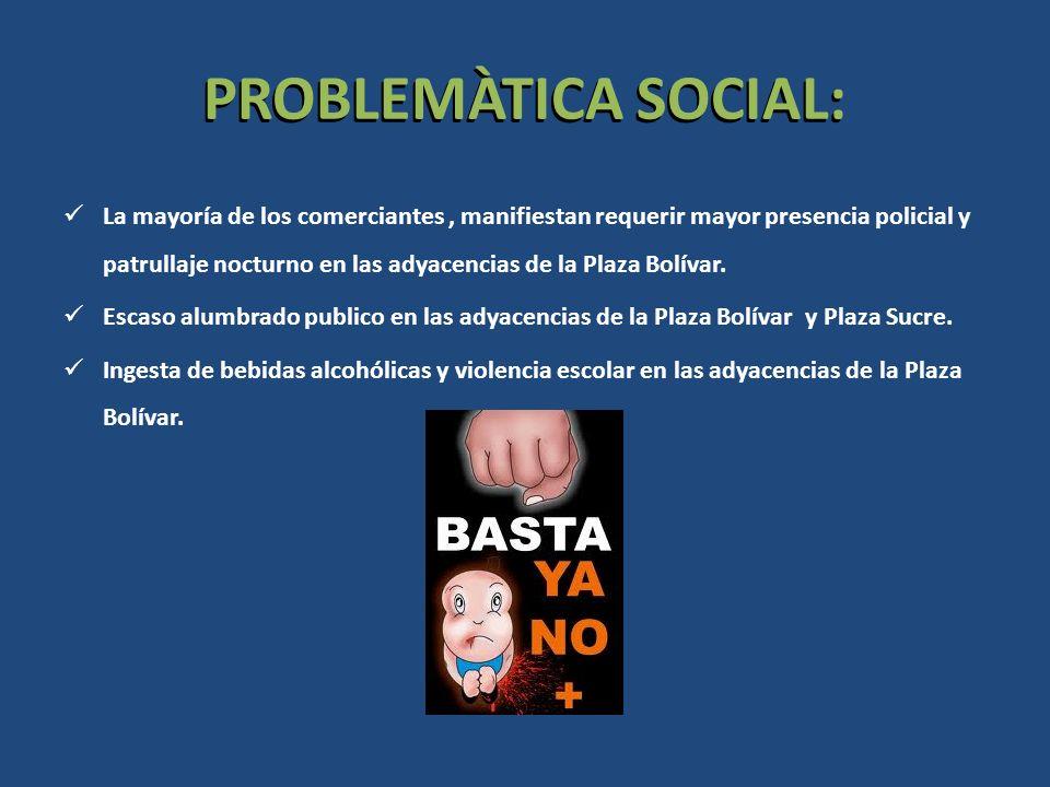 PROBLEMÀTICA SOCIAL: La mayoría de los comerciantes, manifiestan requerir mayor presencia policial y patrullaje nocturno en las adyacencias de la Plaz