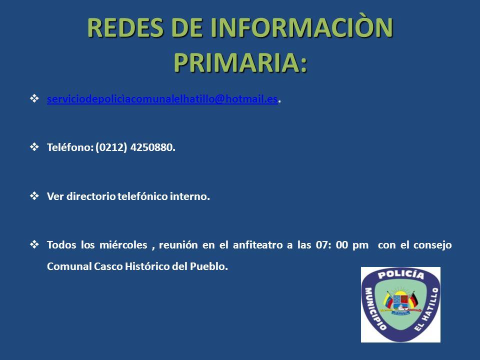 REDES DE INFORMACIÒN PRIMARIA: serviciodepolicìacomunalelhatillo@hotmail.es. serviciodepolicìacomunalelhatillo@hotmail.es Teléfono: (0212) 4250880. Ve