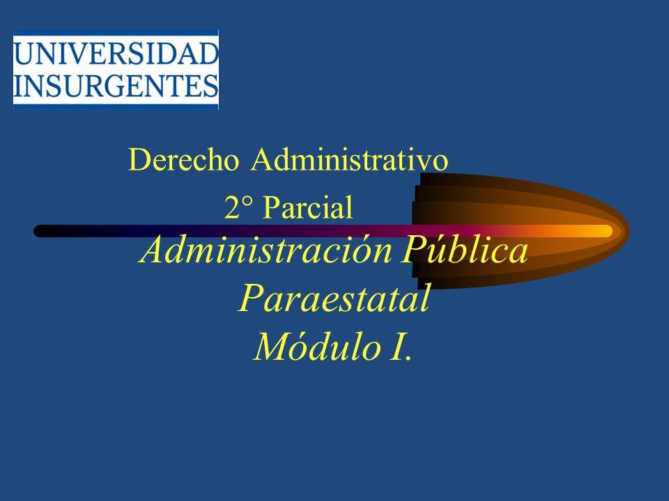 Administración Pública Paraestatal Módulo I. Derecho Administrativo 2° Parcial