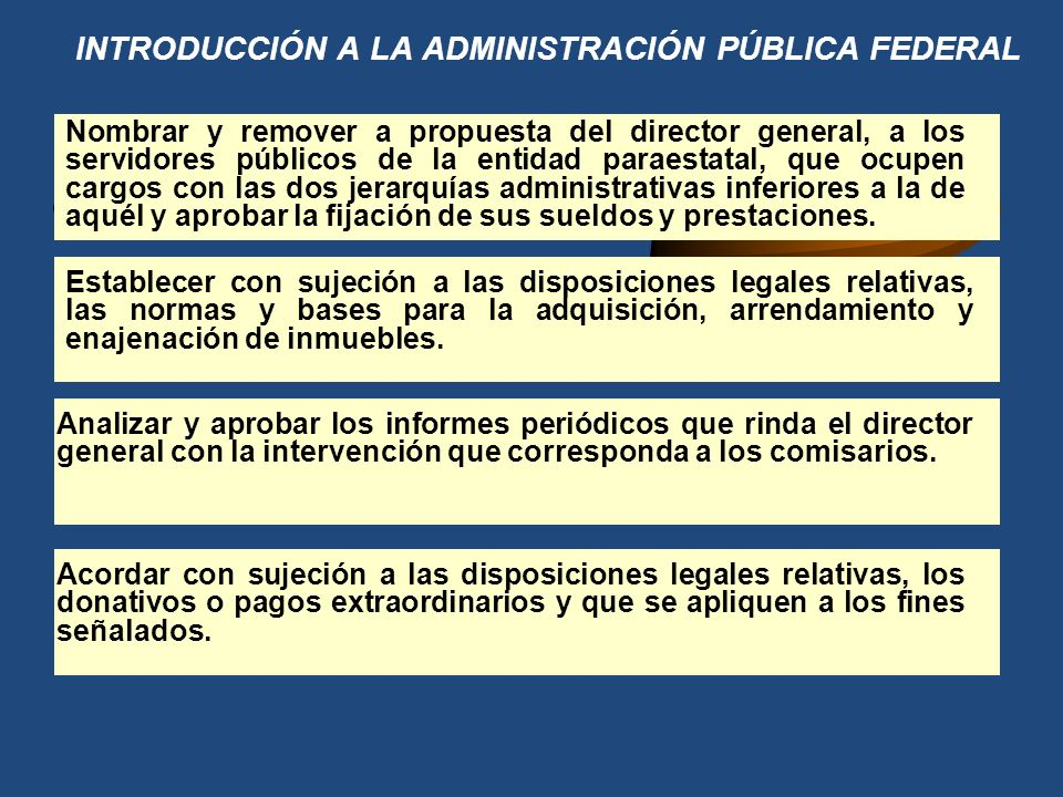 INTRODUCCIÓN A LA ADMINISTRACIÓN PÚBLICA FEDERAL Aprobar la concertación de los préstamos para el financiamiento de la entidad con créditos internos y externos.