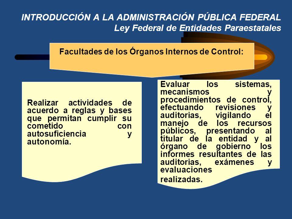 INTRODUCCIÓN A LA ADMINISTRACIÓN PÚBLICA FEDERAL Ley Federal de Entidades Paraestatales Facultades de los Órganos Internos de Control: Apoyar la funci