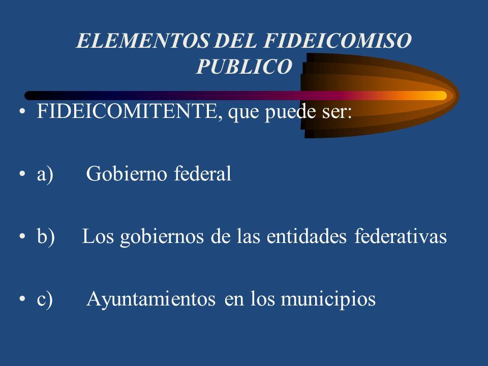 CONCEPTO DE FIDEICOMISO PUBLICO Es un contrato por medio del cual, el gobierno federal, los gobiernos de los estados o los ayuntamientos, a través de