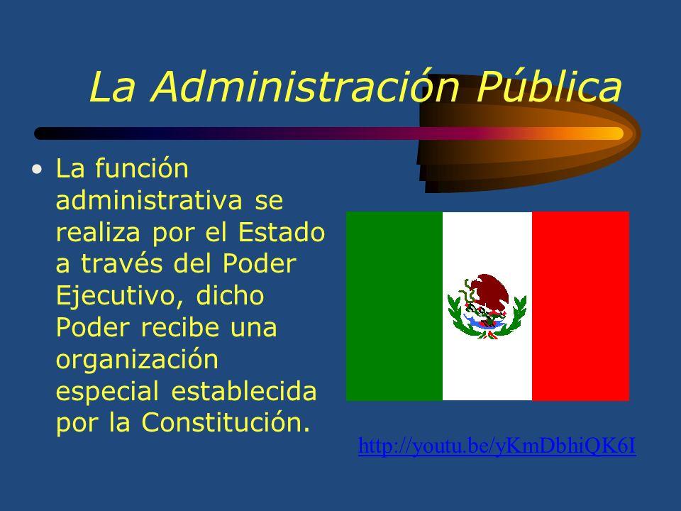 La Administración Pública La función administrativa se realiza por el Estado a través del Poder Ejecutivo, dicho Poder recibe una organización especial establecida por la Constitución.