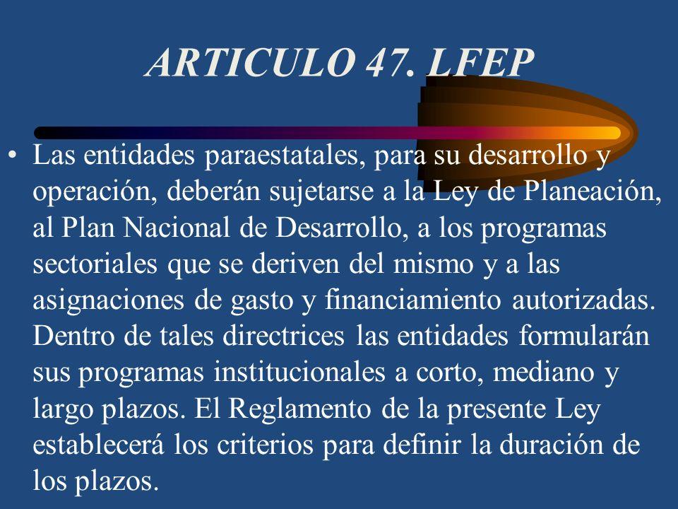 ARTICULO 46. LFEP Los objetivos de las entidades paraestatales se ajustarán a los programas sectoriales que formule la Coordinadora de Sector, y en to