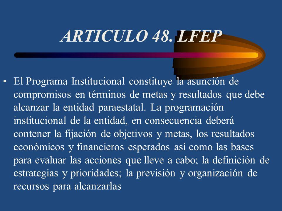 ARTICULO 47. LFEP Las entidades paraestatales, para su desarrollo y operación, deberán sujetarse a la Ley de Planeación, al Plan Nacional de Desarroll