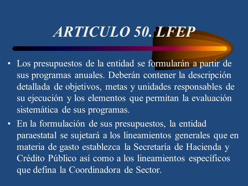 ARTICULO 49. LFEP El programa institucional de la entidad paraestatal se elaborará para los términos y condiciones a que se refiere el artículo 22 de