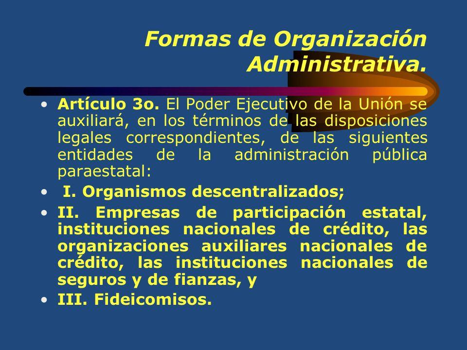 Formas de Organización Administrativa. Artículo 2o. En el ejercicio de sus atribuciones y para el despacho de los negocios del orden administrativo en