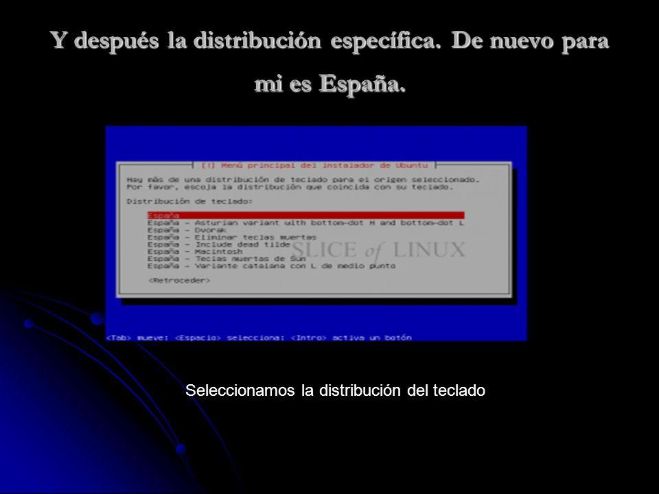 Y después la distribución específica. De nuevo para mi es España.