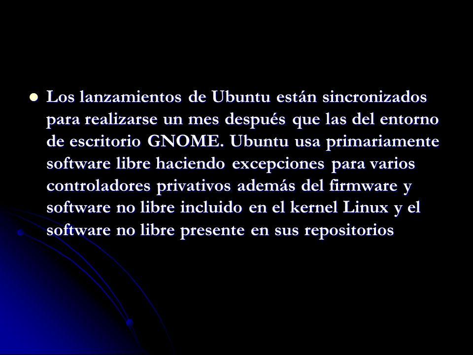 Los lanzamientos de Ubuntu están sincronizados para realizarse un mes después que las del entorno de escritorio GNOME.