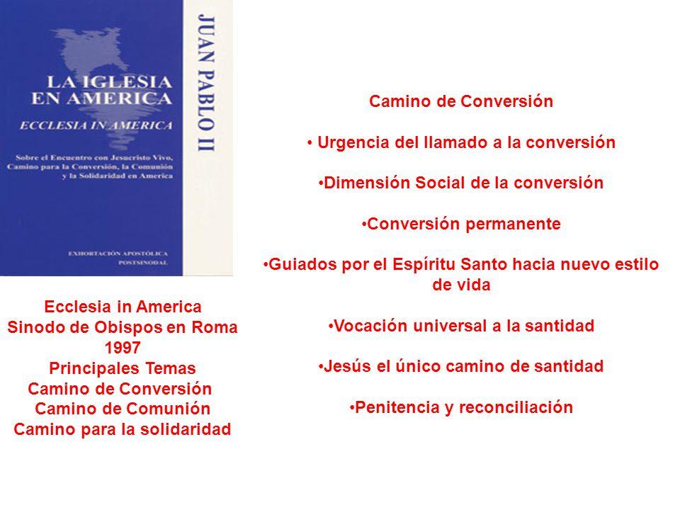 Ecclesia in America Sinodo de Obispos en Roma 1997 Principales Temas Camino de Conversión Camino de Comunión Camino para la solidaridad Camino de Conv