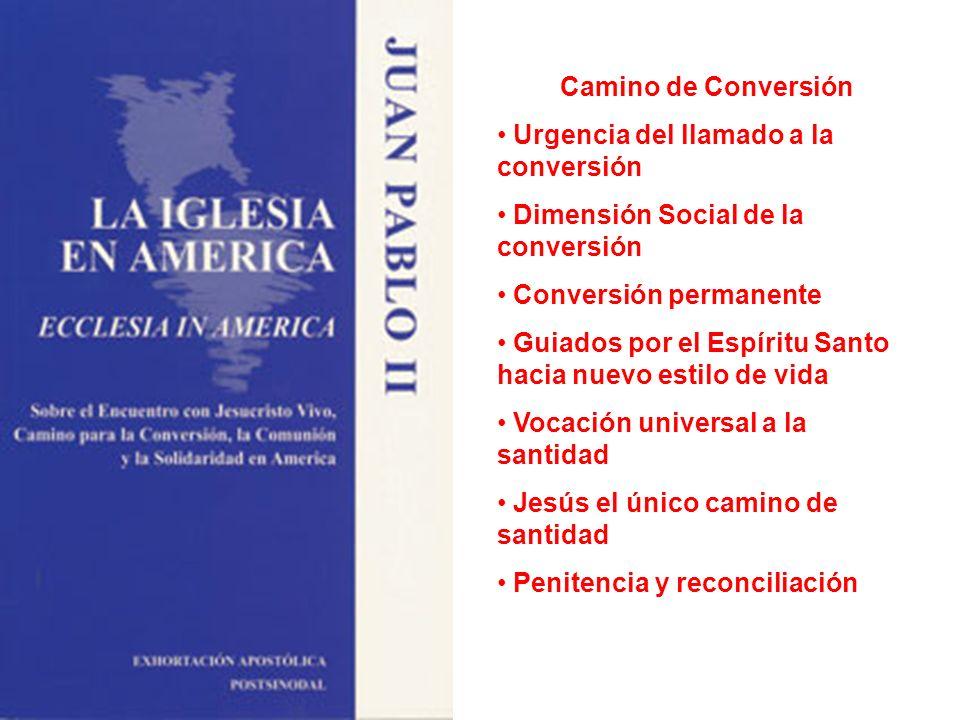 Camino de Conversión Urgencia del llamado a la conversión Dimensión Social de la conversión Conversión permanente Guiados por el Espíritu Santo hacia